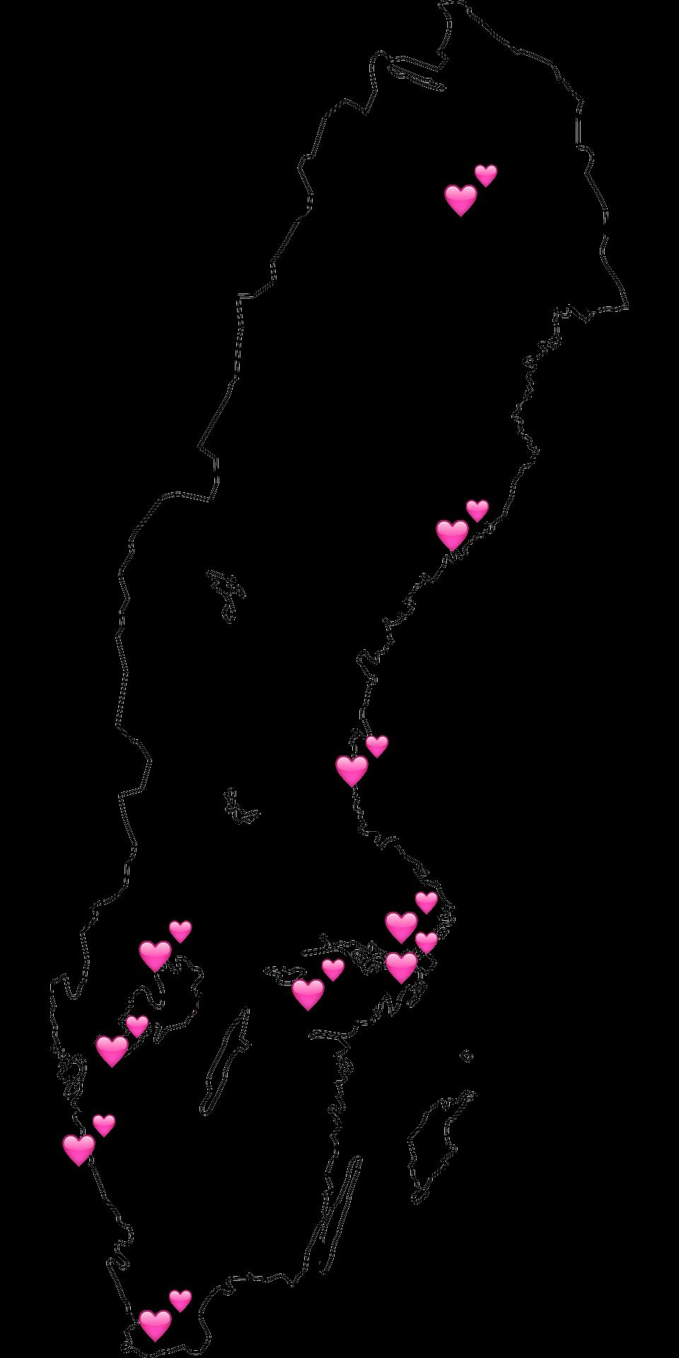 Sverigekarta med RBUF-grupper